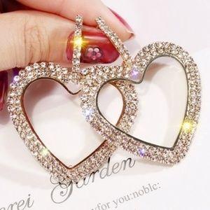 Gold Austrian Crystal Dangle Heart Earrings